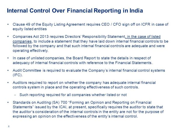 Internal Financial Controls Role & Responsibility of ...