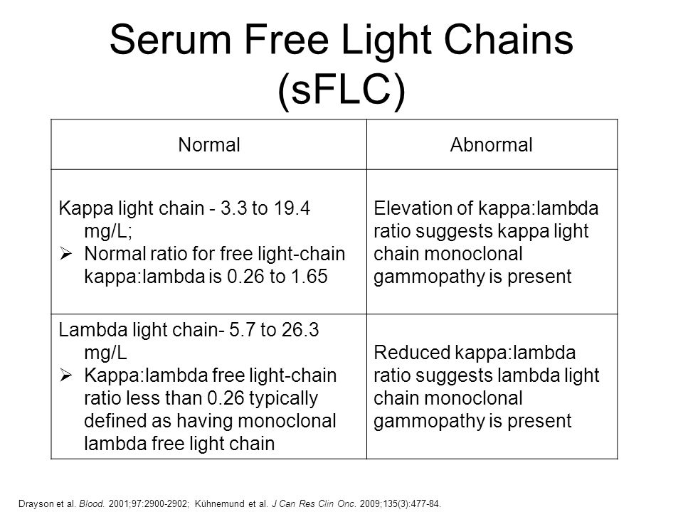 Elevated Kappa And Lambda Free Light Chains Centralroots Com