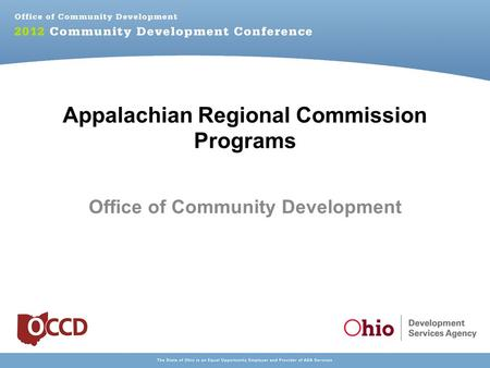 Ohio Public Works Commission Funding Opportunities - ppt ...