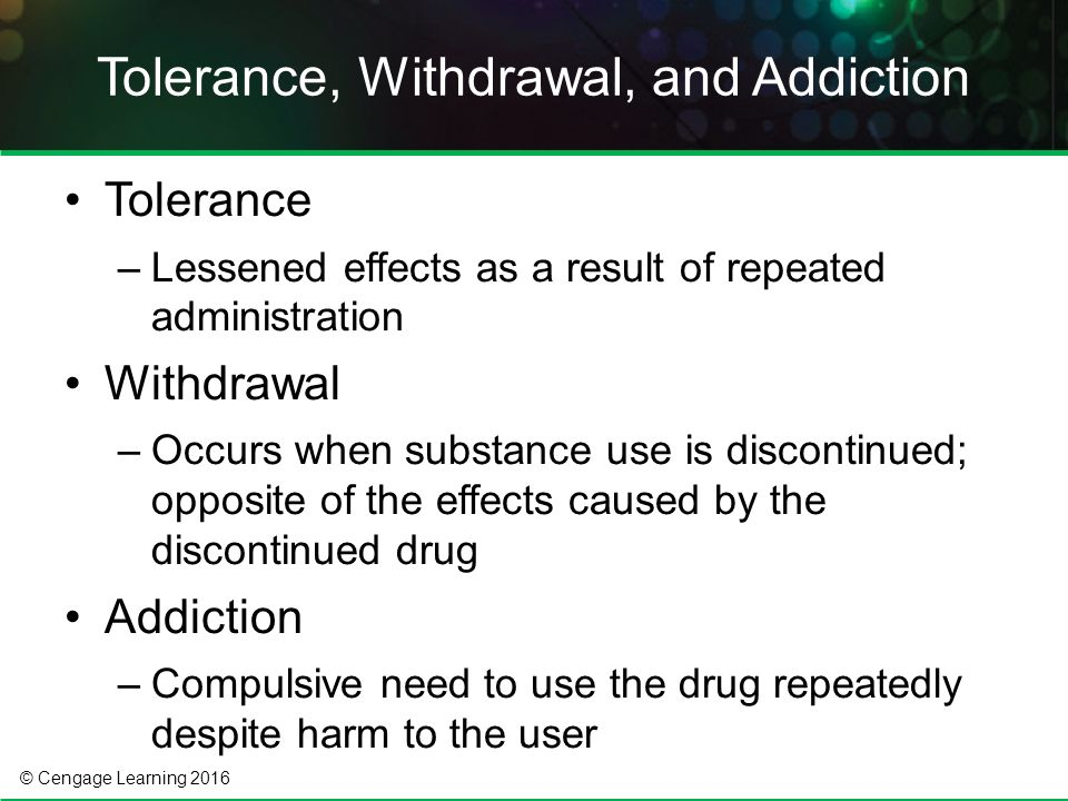 Cross Tolerance Drugs