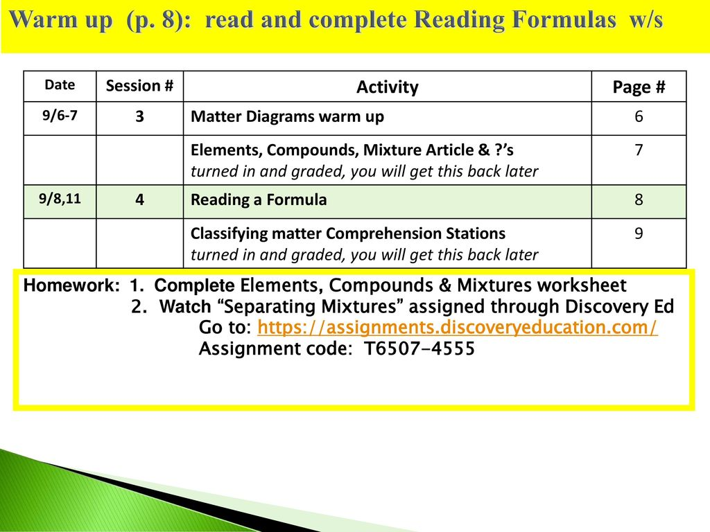 Warm Up P 8 Read And Complete Reading Formulas W S