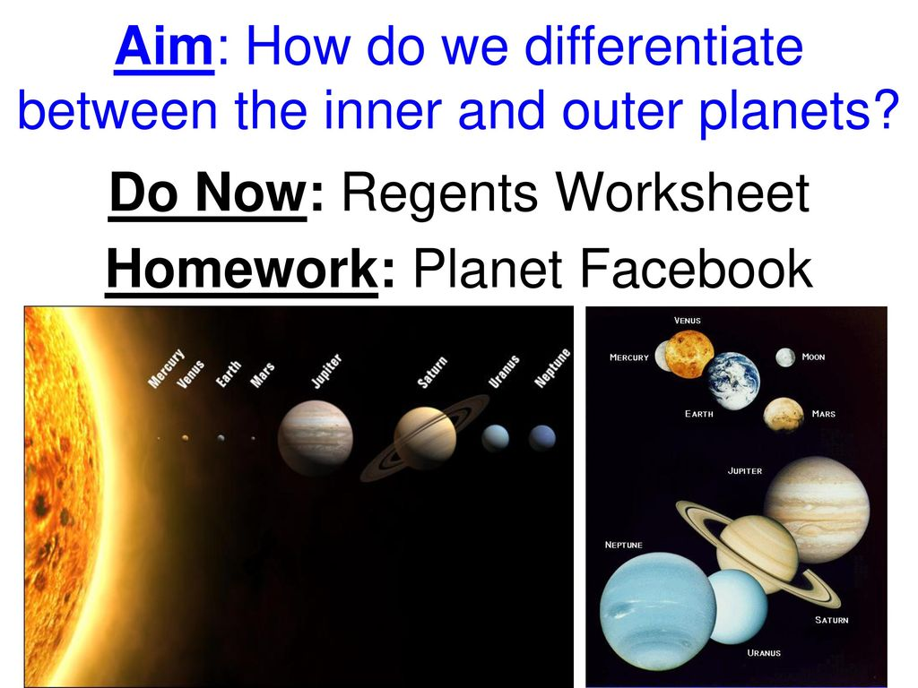 Inner And Outer Planets Worksheet