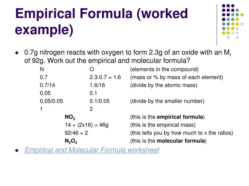Mass Molecular Formula Worksheet
