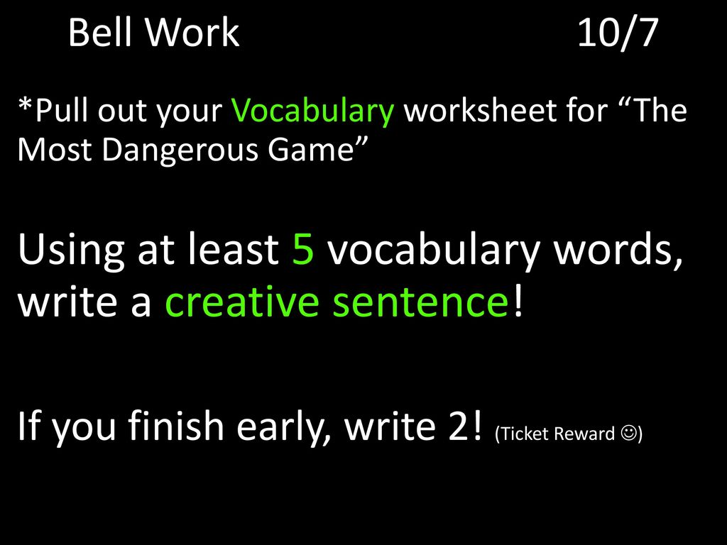The Most Dangerous Game Worksheet