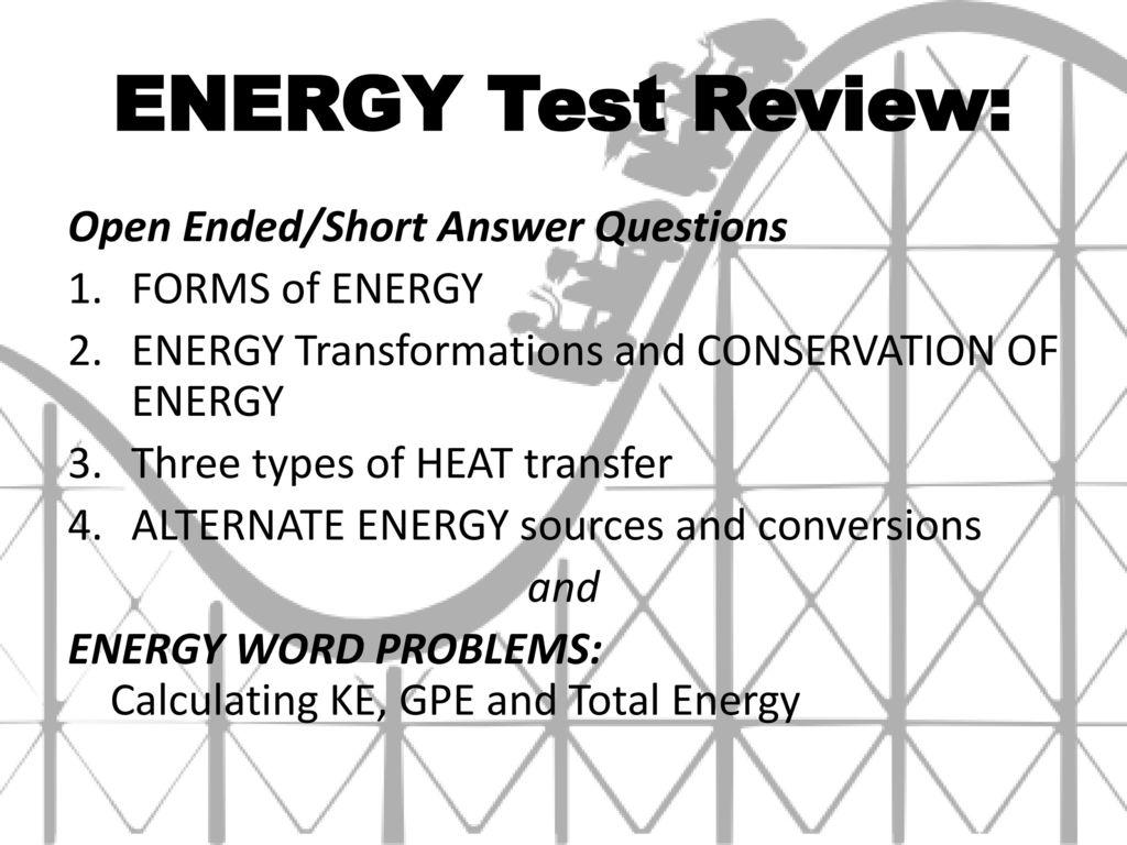 Energy Word Problems 3 4 Solving Energy Problems