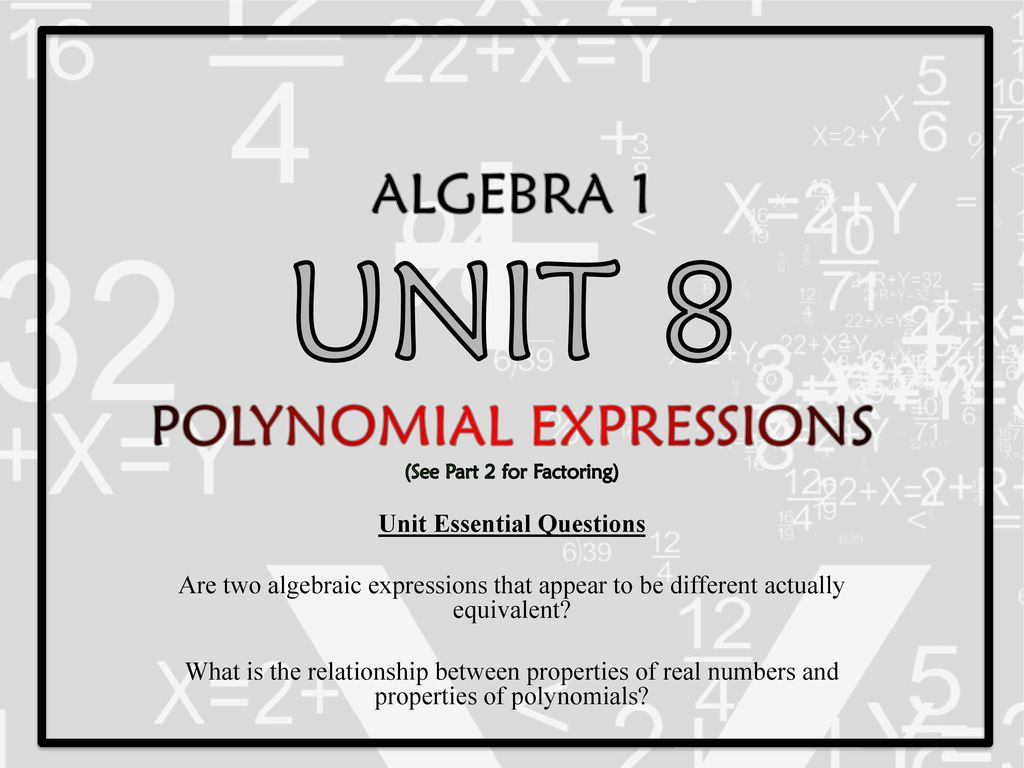 Algebra 1 Unit 8 Polynomial Expressions See Part 2 For Factoring