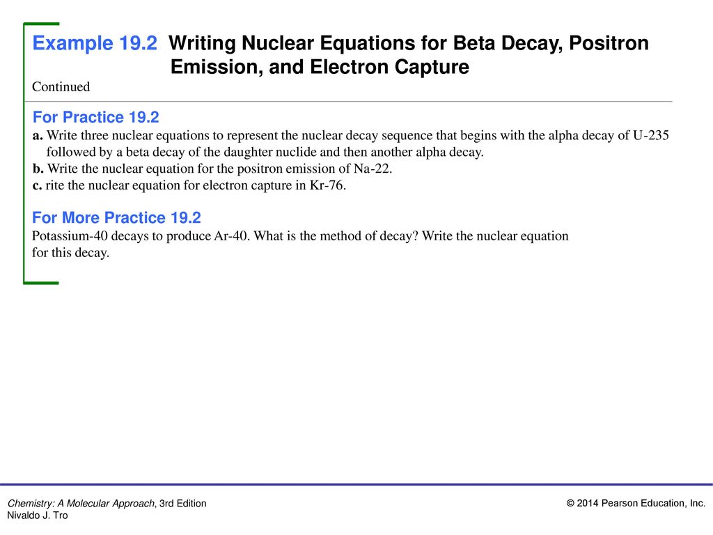 Example 19 1 Writing Nuclear Equations For Alpha Decay