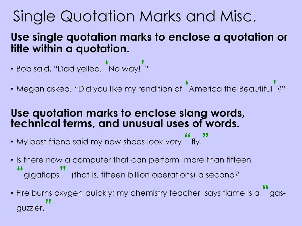 Quotation Marks Examples