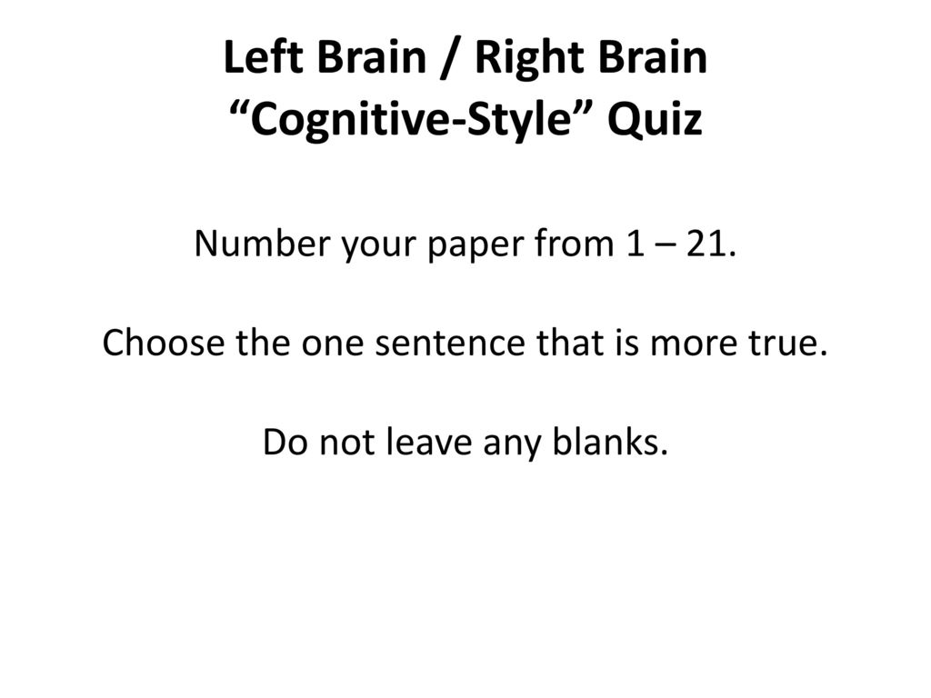 Are You A Left Brain Or Right Brain