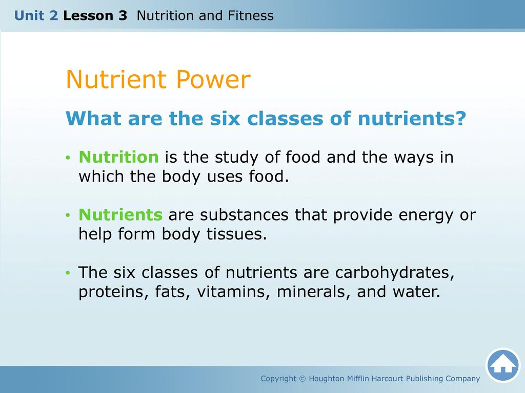 Unit 2 Lesson 3 Nutrition And Fitness