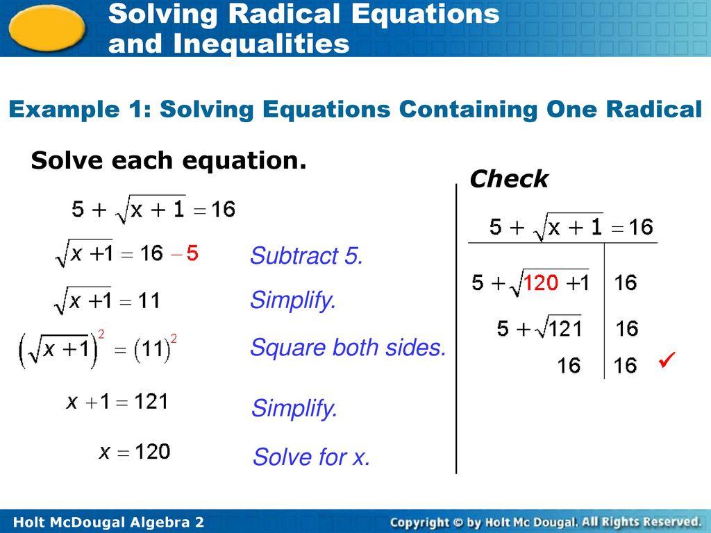 Solving Radical Equations Worksheet Answer Key Algebra 2