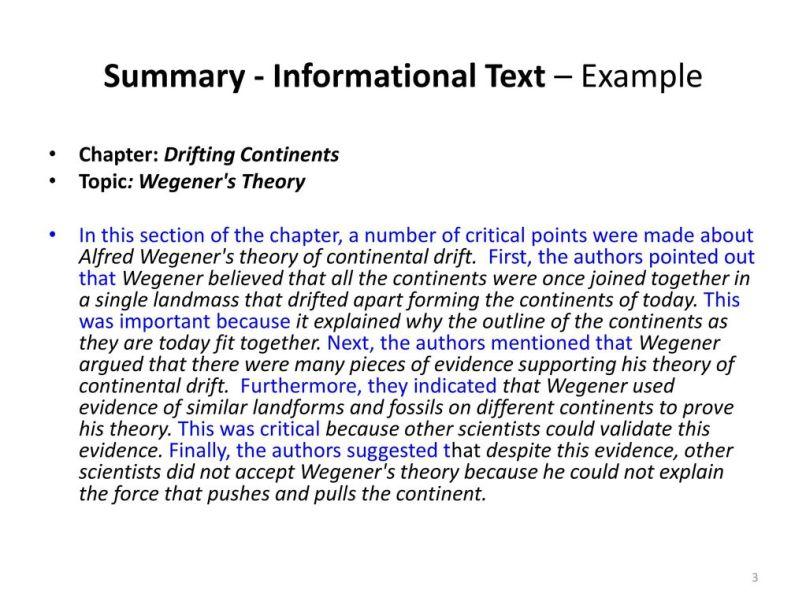 Informational Text Summary Writing Frame | Allframes5.org