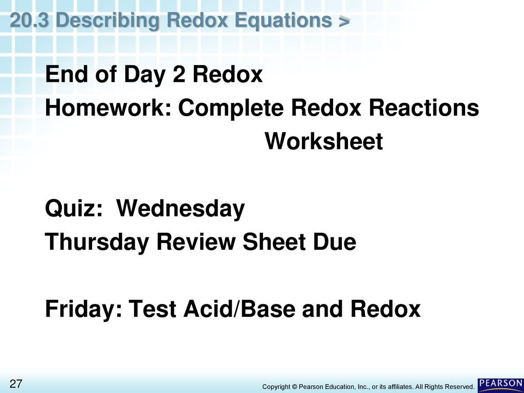 Chapter 20 Oxidation Reduction Reactions 20 3 Describing