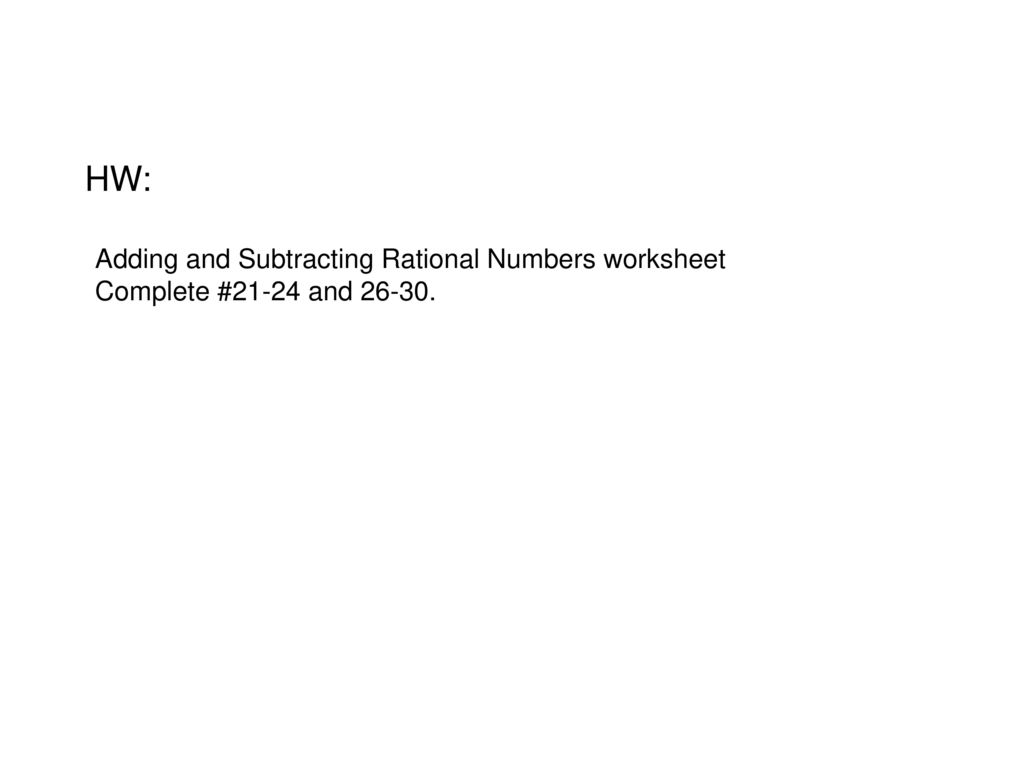 Adding And Subtracting Rational Numbers Worksheet