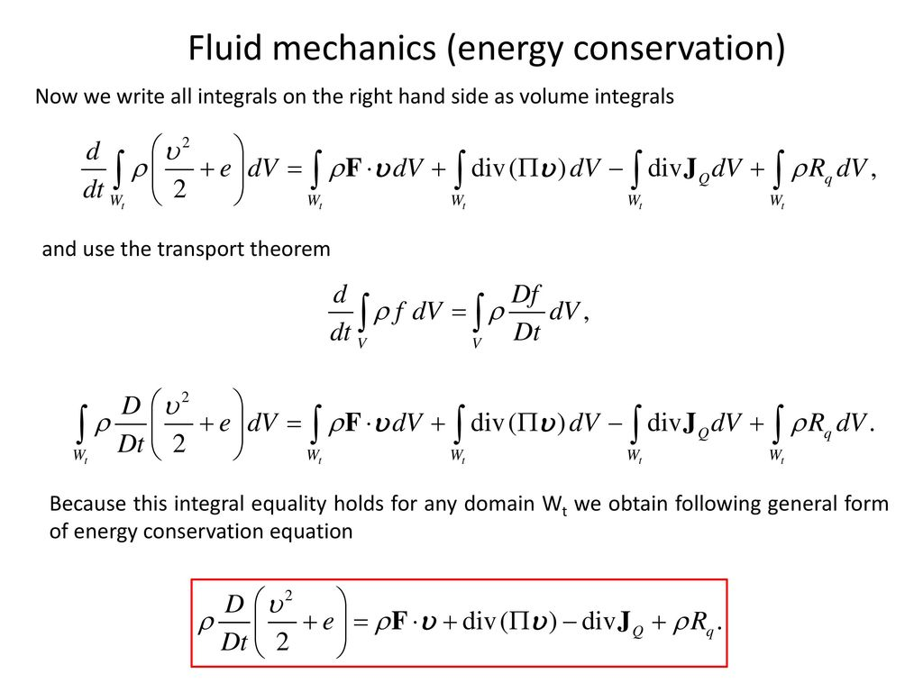 Conservation Of Mass Momentum And Energy In Fluid Dynamics
