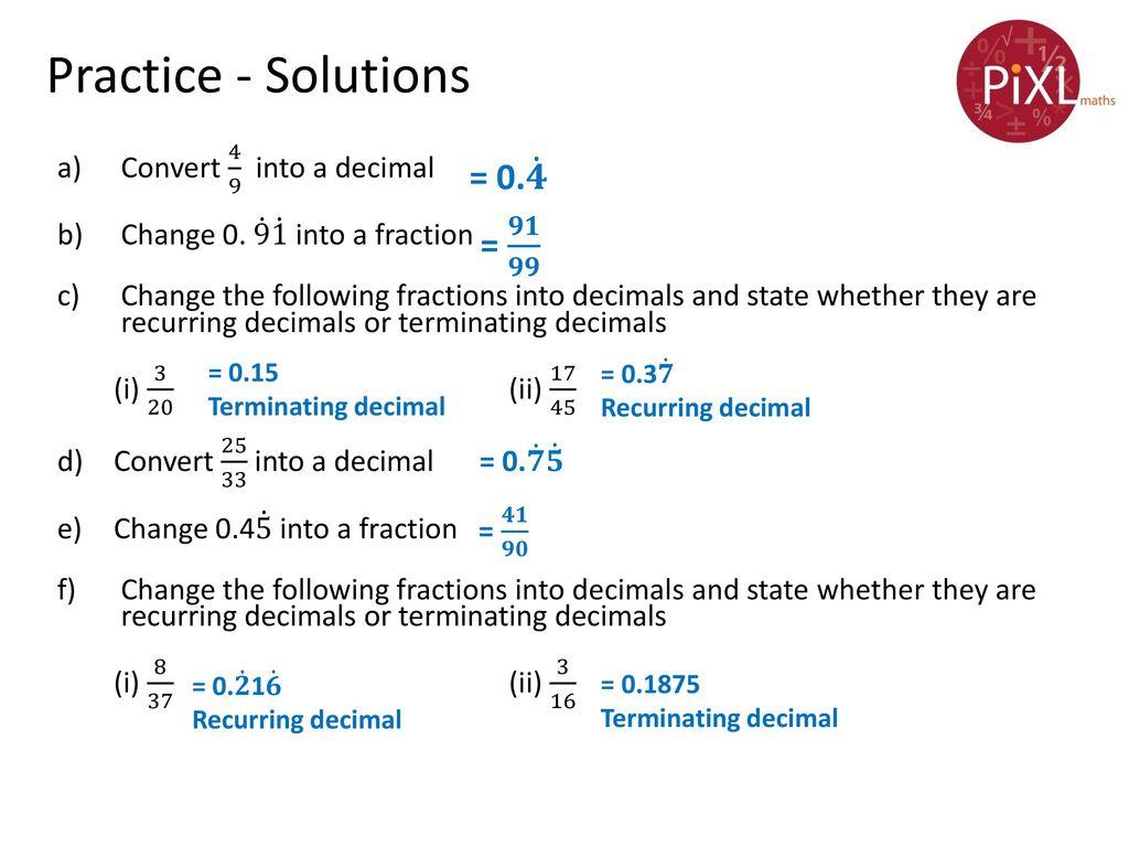 Convert Repeating Decimals Into Fractions Worksheet