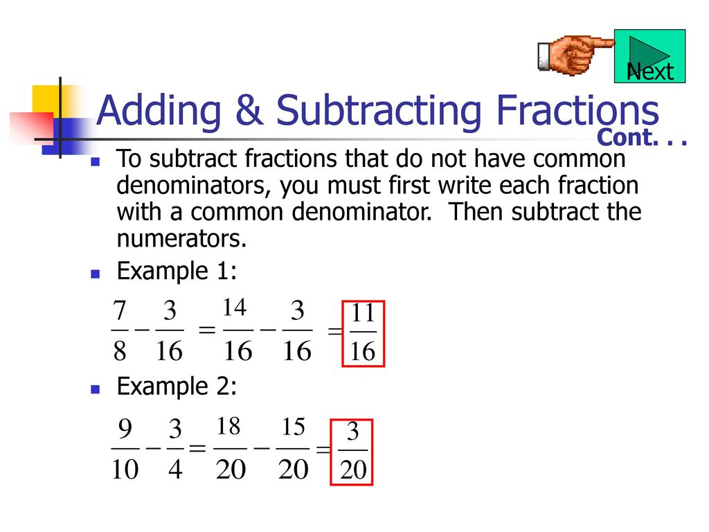 Adding And Subtracting Fractions Examples