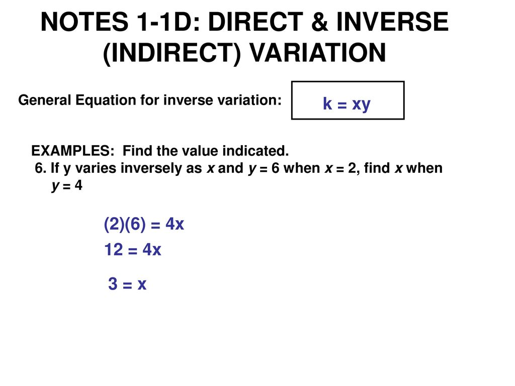Inverse Variation Equation Examples