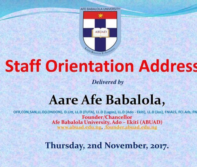 2 Staff Orientation Address