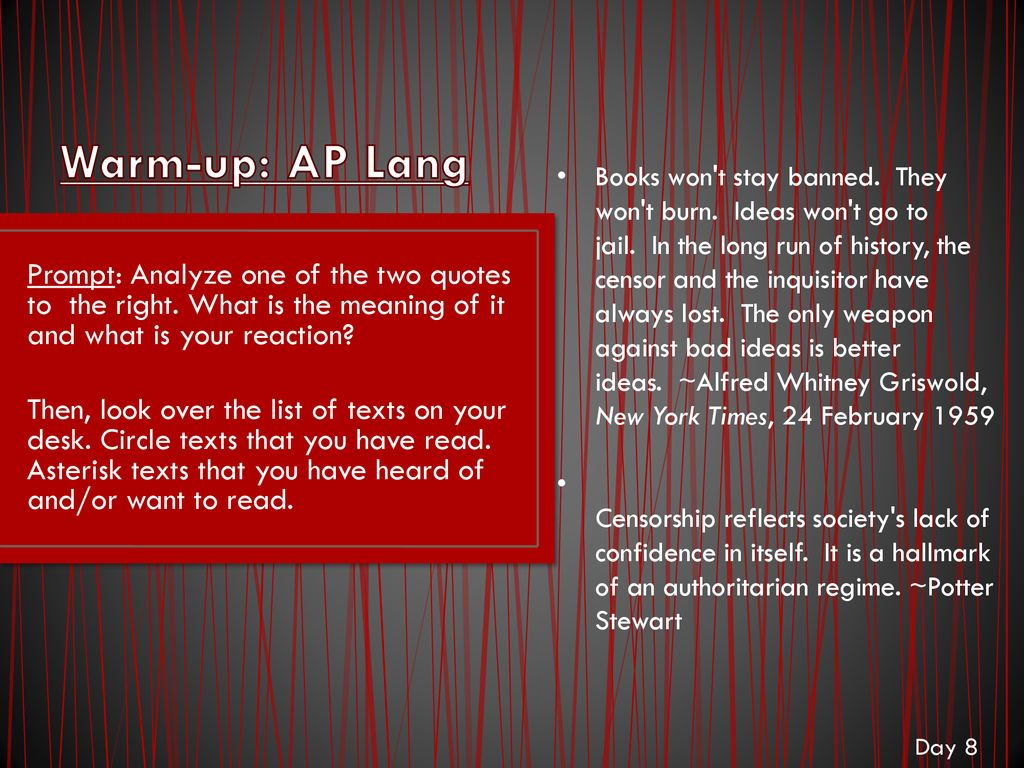 Warm Up Ap Lang Prompt What Do You Know About Arguments