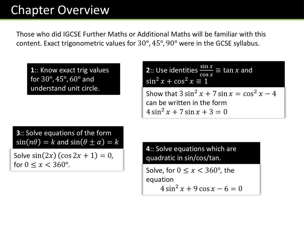 P1 Chapter 10 Trigonometric Identities Amp Equations