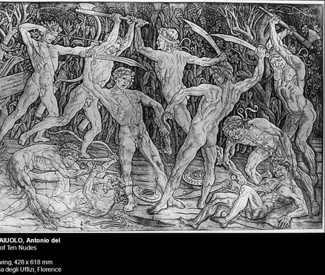 Pollaiuolo Antonio Del Battle Of Ten Nudes S Engraving  Mm Galleria Degli Uffizi Florence