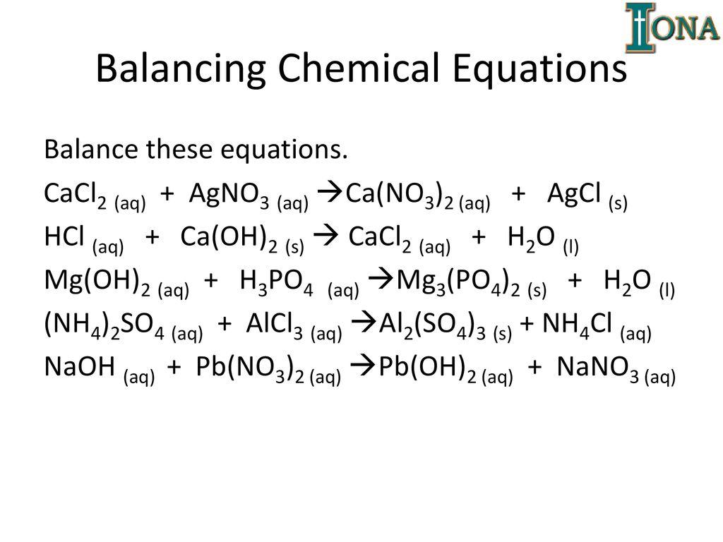 Balancing Chemical Equations Worksheet Nano3
