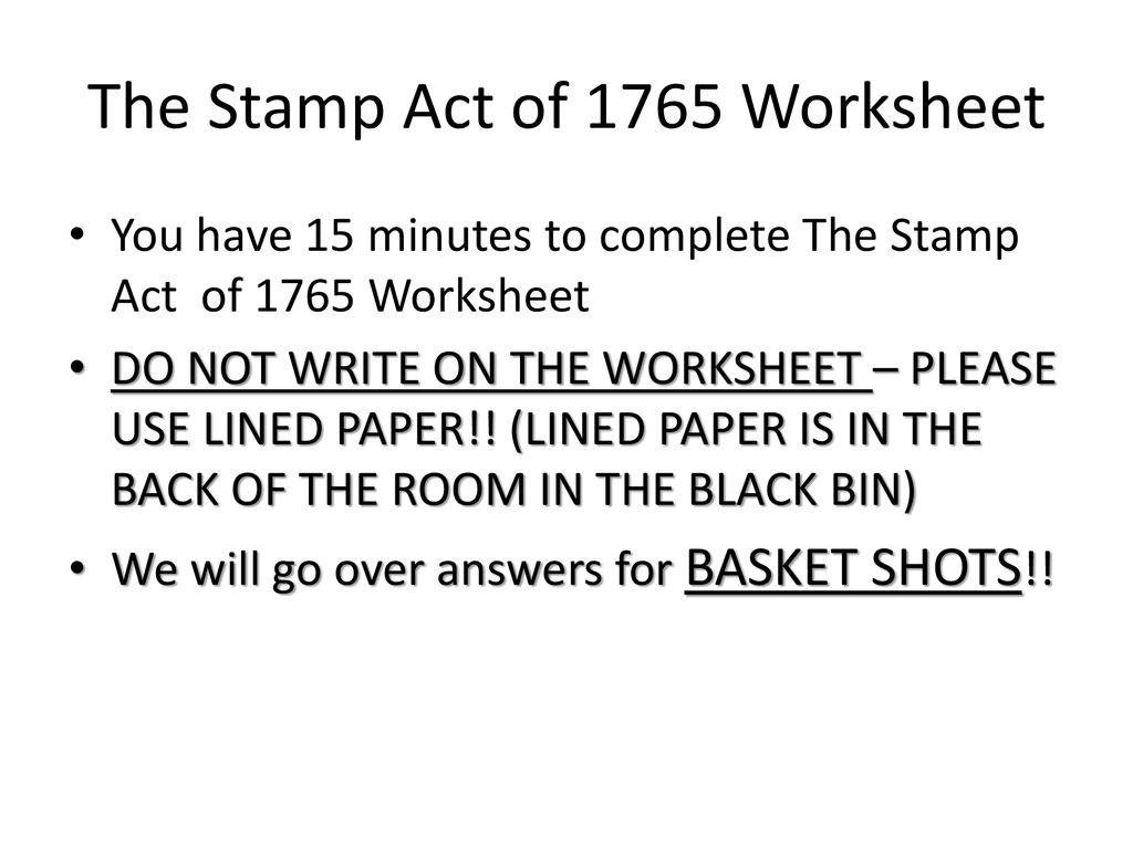 The Stamp Act Worksheet Answers