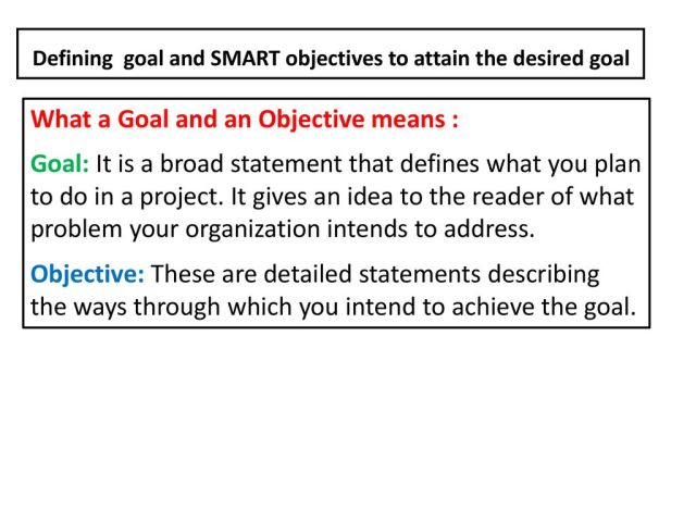 How to write Goals and Objectives Satetment in Project Proposal
