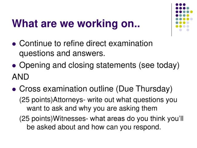 8/8/8 BR- What is the purpose of cross examination questions