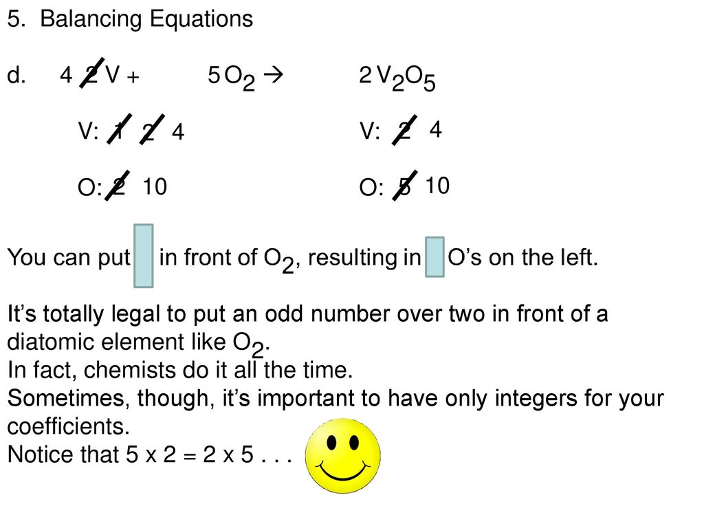 Balancing Chemical Equations Worksheet V2o5