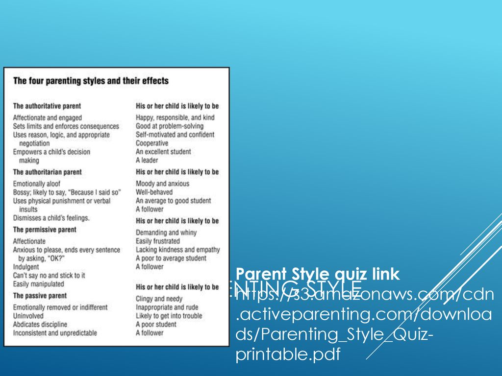Parenting Style Quiz Printable That Are Comprehensive