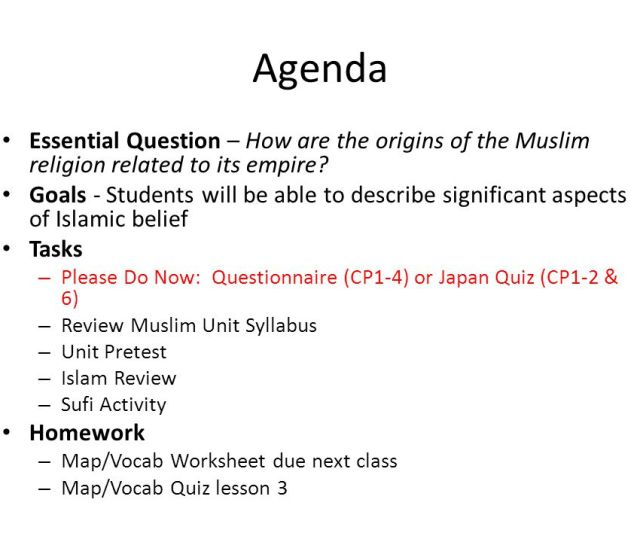 Agenda Essential Question How Are The Origins Of The Muslim Religion Related To Its Empire