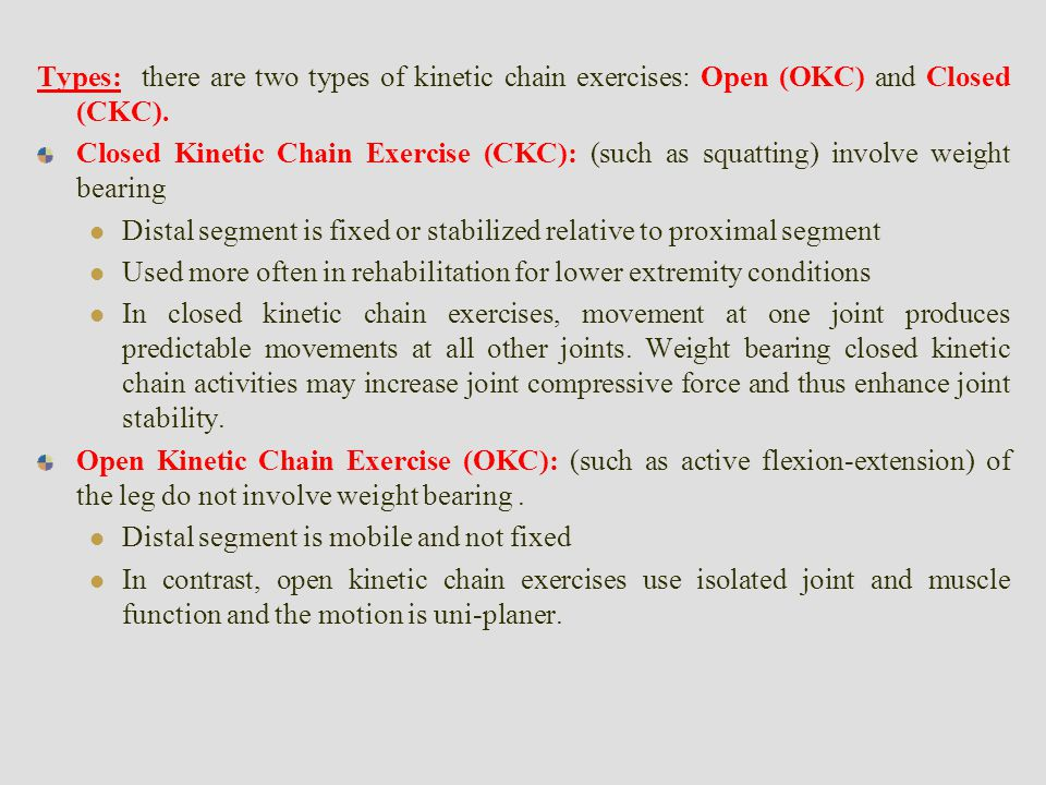 Chart Open Closed Kinetic Chain Exercises
