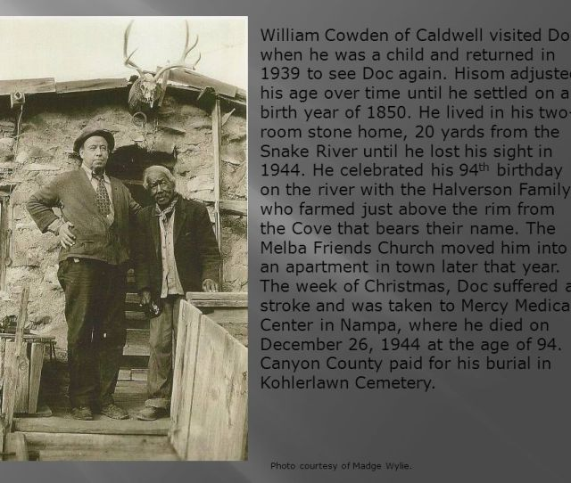 William Cowden Of Caldwell Visited Doc When He Was A Child And Returned In 1939 To