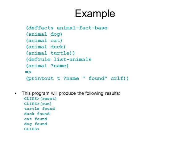 Example of the expert system (artificial intelligence) code