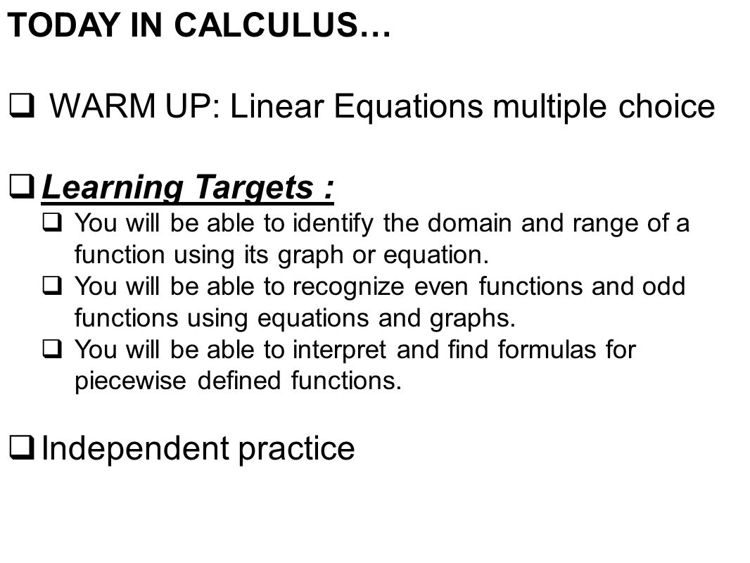 Warm Up Linear Equations Multiple Choice Learning Targets