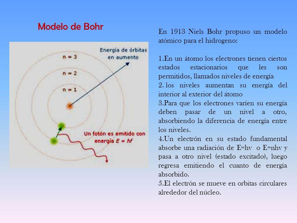 Modelo De Bohr En 1913 Niels Bohr Propuso Un Modelo Atómico Para El Hidrogeno En Un átomo Los Electrones Tienen Ciertos Estados Estacionarios Que Les