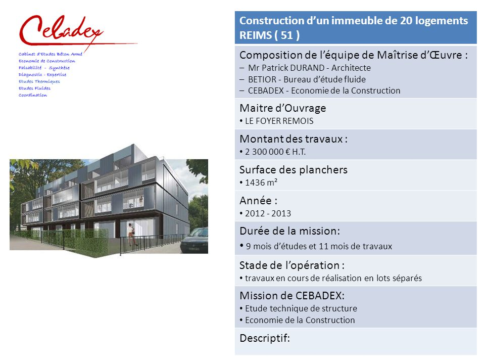 Construction Dun Immeuble De 15 Logements ALFORTVILLE