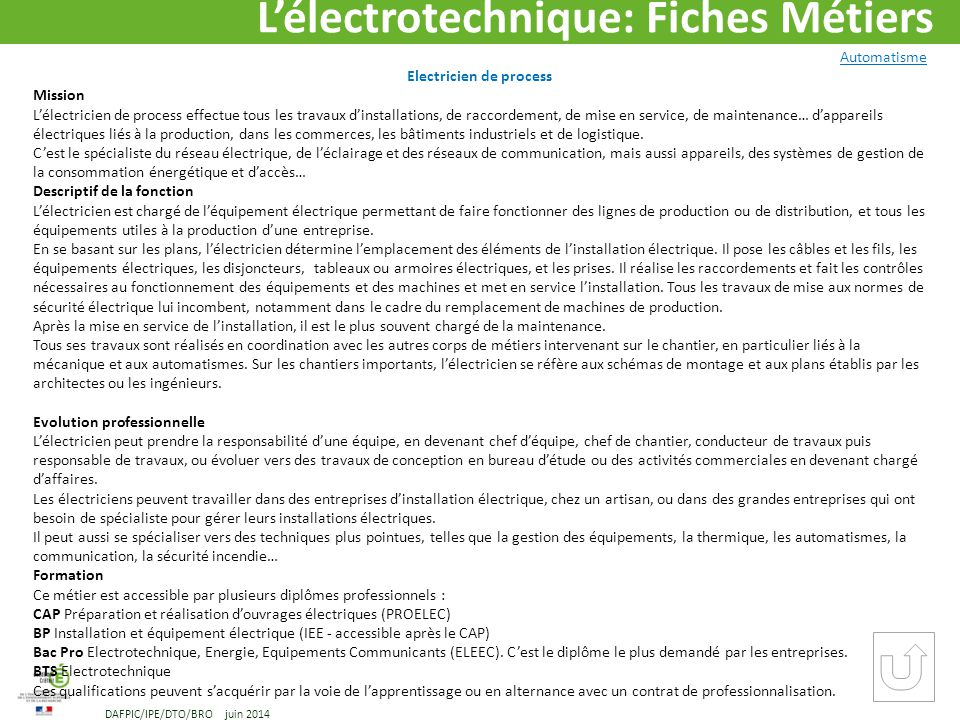 LLECTROTECHNIQUE Mtiers Et Formations DAFPIC Ppt