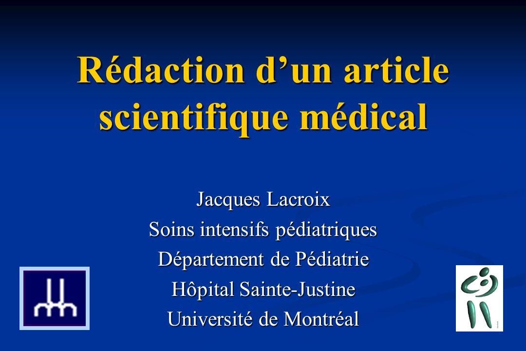 redaction d un article scientifique medical