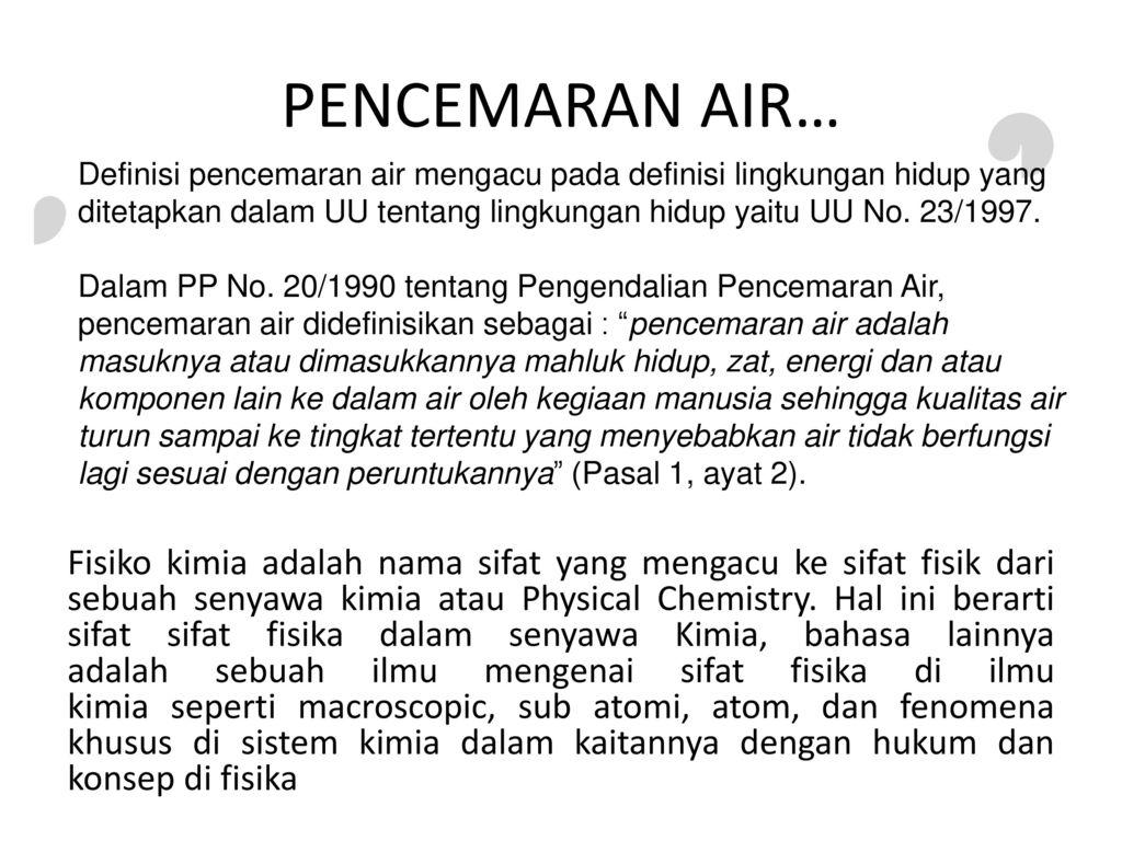 Pencemaran Air Yang Disebabkan Oleh Agen Fisikokimia