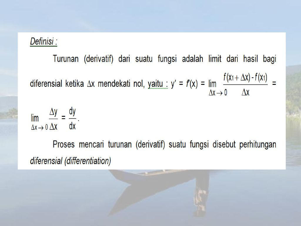 Sistem bilangan real, pertaksamaan dan operasi geometris kurva sederhana 1. Pertemuan 9 Kalkulus Diferensial Ppt Download