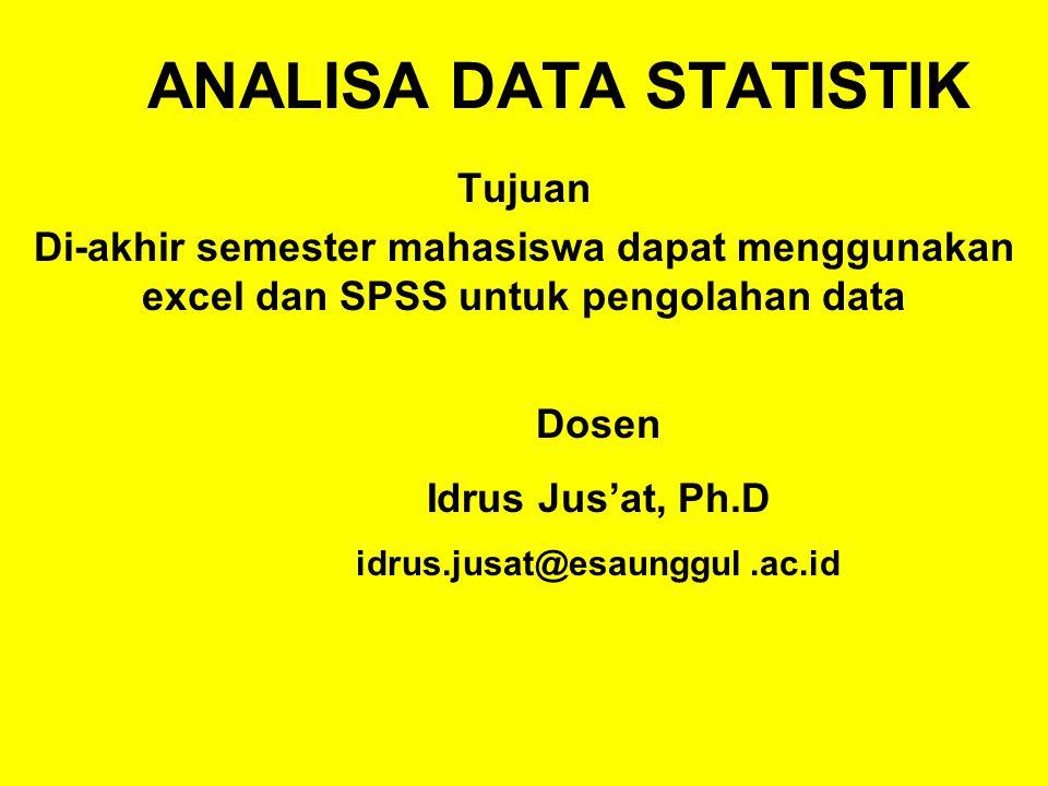 Buka menu data >> data analysis. Analisa Data Statistik Ppt Download