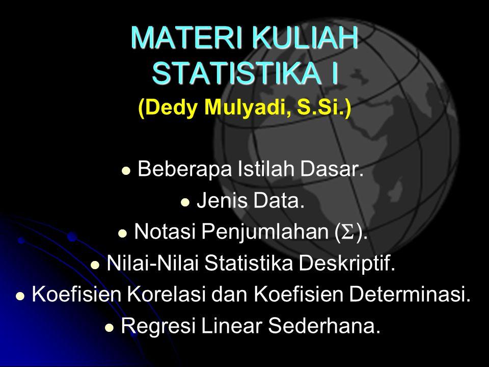 1, kalkulus peubah banyak, 3, kalkulus integral. Materi Kuliah Statistika I Ppt Download