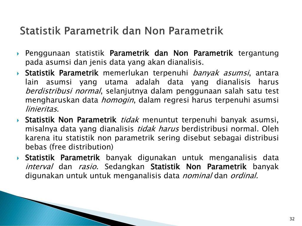 Aplikasi spss untuk smart riset. Statistika Deskriptif Parametrik Non Parametrik Ppt Download