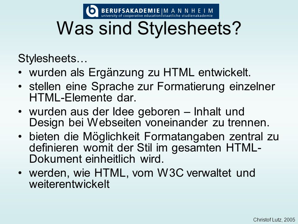 2 was sind stylesheets