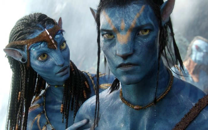 Jake Sully and Neytiri in James Cameron's Avatar