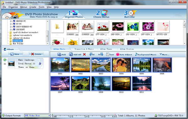 organize photos in slideshow software