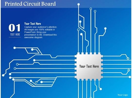 0814 Printed Circuit Board PCB With CPU Chip Icon For Chip